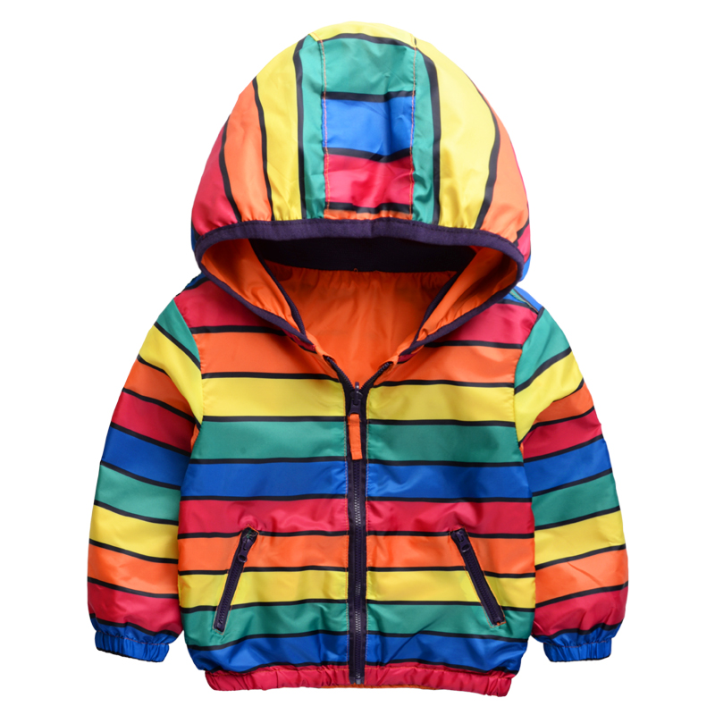 2016 spring new fashion both sides wear colored stripes children outerwear kids jackets hooded boys and