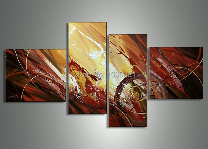 Hand-Painted-4-Piece-Wall-Art-Pictures-Abstract-Paintings