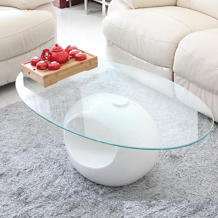 White Coffee Table Oval: Storage Small Apartment Living Room Coffee Table, White