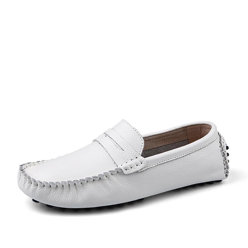 Handmade Genuine Leather White Flats Men's Slip On