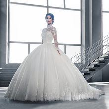 W3058 High Neck IIIusion Back Long Sleeve Wedding Dress 2016 Lace Ball Gown Wedding Gowns robe de mariage