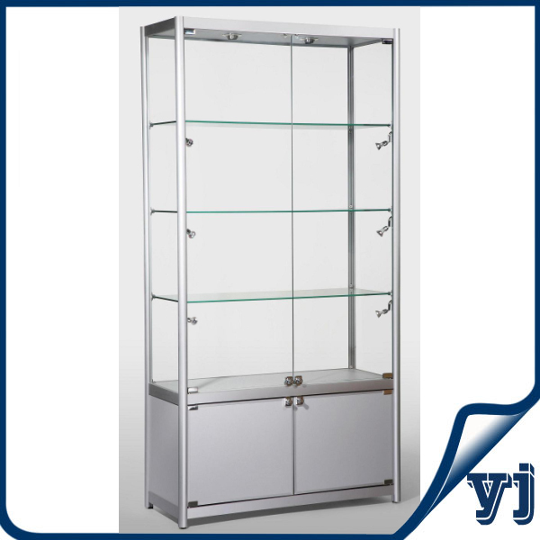 Free Standing Kitchen Cabinets With Glass Doors: Guangzhou Modern Free Standing Silver Glass Aluminium