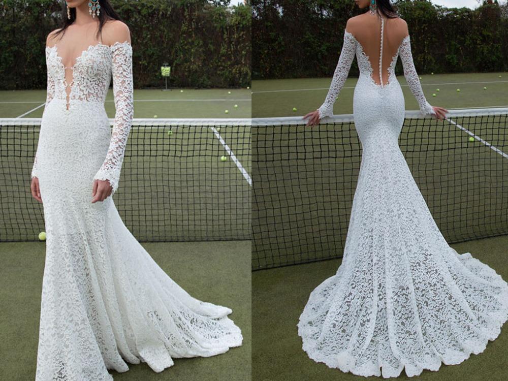 Graceful Illusion Neck Bodice Lace Mermaid Bridal Dress