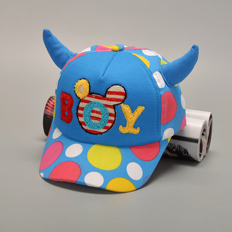 2016 Real Cotton Polyester Unisex New Fashion Children Casquette Hat Cow Horn Baseball Cap Hip Hop