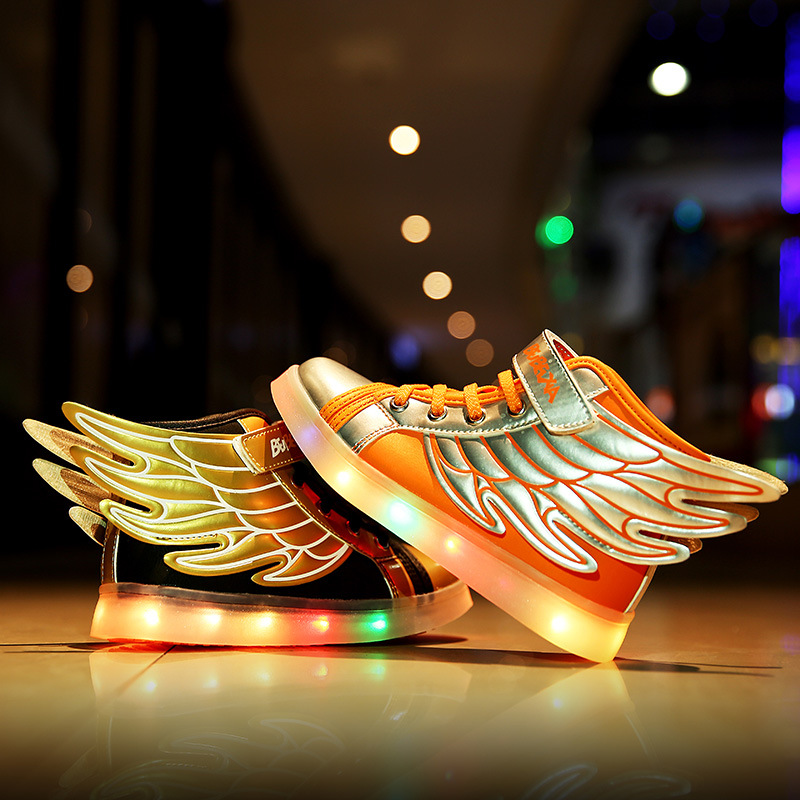 2016 Kids Brand Sports Shoes With Led Light Wings Sneaker Children Boy Girl Usb Charging Luminous