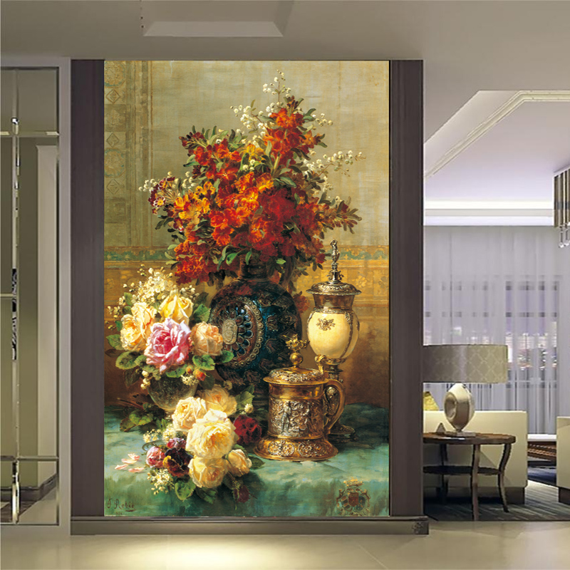 Customized home decor mural living room wallpaper large western oil painting European style palace flower vase 1x3m