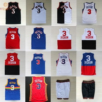 Philadelphia   Denver  3 The Answer Allen Iverson basketball jersey    shorts Stitched throwback jerseys Embroidery Logos NA124 6fa8651be