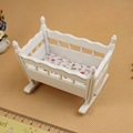 1 Set 1 12 Dollhouse Miniature Furniture White Cradle Fresh Flower On Canvas Doll House Accessory
