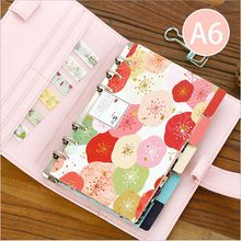 5Pcs/Lot Pink Froral Flowers A6 Classified Index Page Loose-leaf Notebook Slip sheet paper Bookmark Office Binding Supply