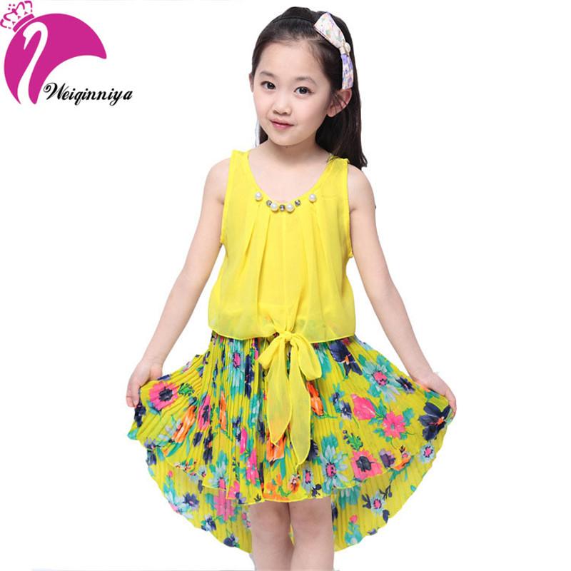 New Brand Cool 2016 Girl Dress Summer Chiffon Sleeveless Flower Girl Dresses Mermaid Vestido Infantil Kids