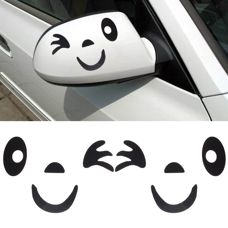 Funny Car Stickers Smile Face Design 3D Decoration Sticker For Cars Side  Mirror Rearview Car Stickers Car Styling C8110 7#Y30