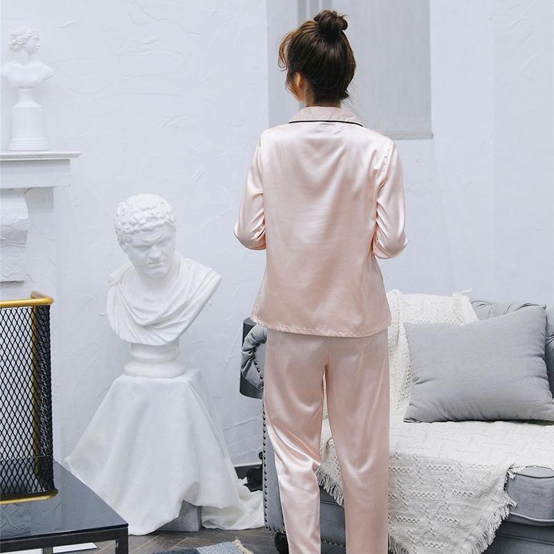 2019 Ice Silk Satin Cozy Couple Pajamas Set Comfy Women Men Long ... 70626a66f