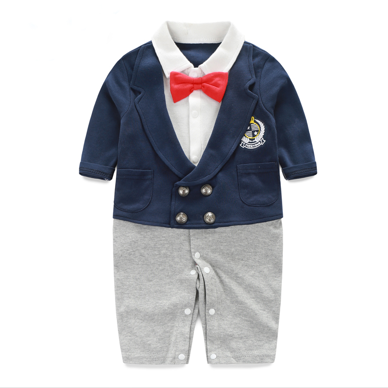 Baby Romper Newborn Gentleman Long Sleeve Baby Jumpsuit Autumn Winter Clothing Set Baby Clothes Set 0-18M Summer Infant Rompers