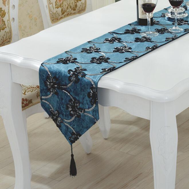chemin de table toile de jute dentelle decorative handmade home blue table runners in table