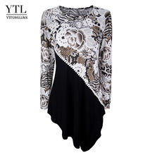 YTL женские осенние модные футболки с принтом леопардовые Лоскутные асимметричные топы с длинным рукавом для женщин Дамская туника топ H256(Китай)