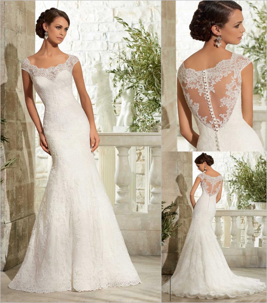 Romantic Lace Mermaid Wedding Dresses 2015 Cap Sleeve