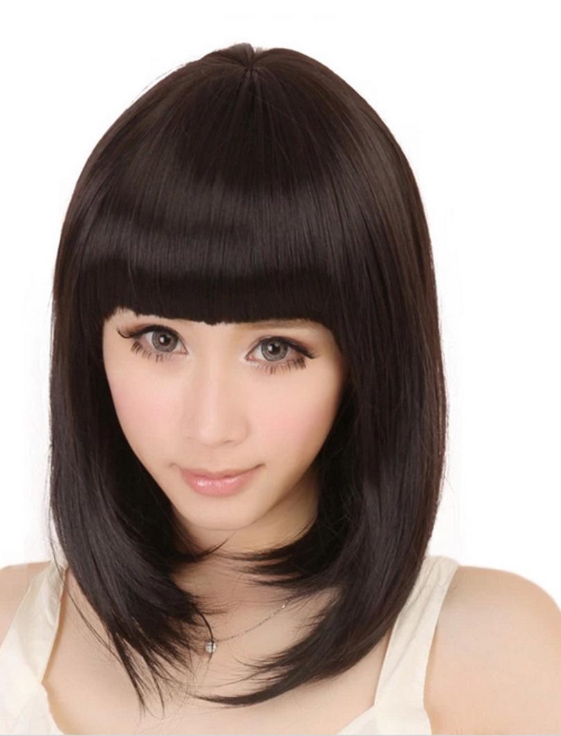 Новинка мода новых женщин дамы прямые полной челкой бобо волос парик Cosplay бесплатная доставка