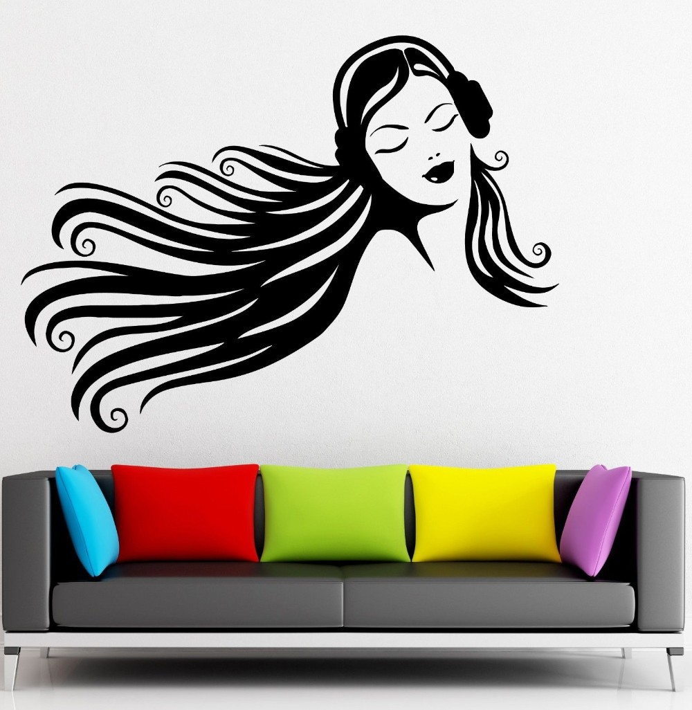 Music Wall Stickers Teen Girl Headphones Beautiful Decor ...