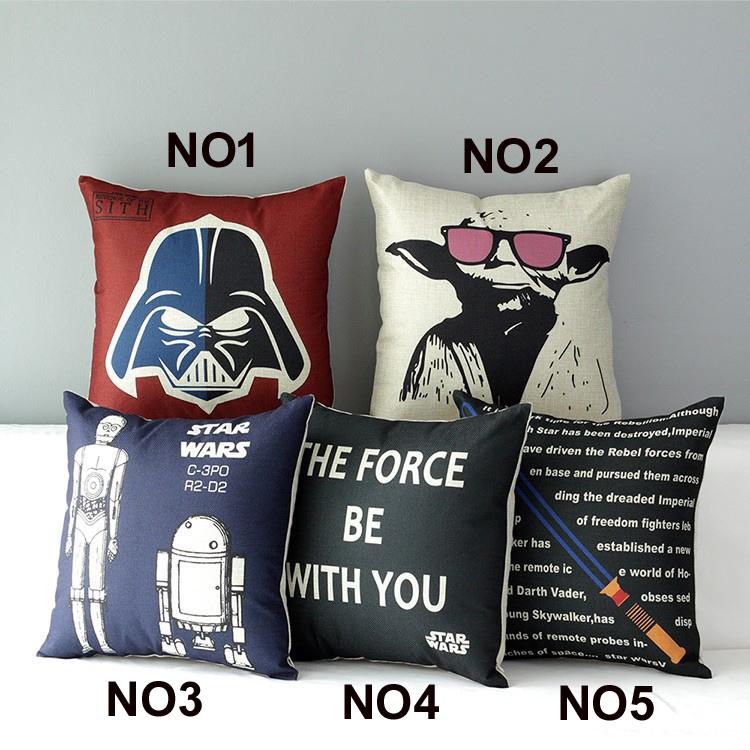 18 Square Star War Cotton Linen Cushion Cover Sofa Decorative Throw Pillow Car Chair Home Decor