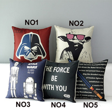 18″  Square Star War Cotton Linen Cushion Cover Ikea Sofa Decorative Throw Pillow Home Chair Car Pillow Case almofadas HD801