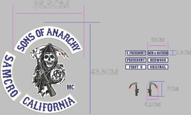 patch set patchset f r sons of anarchy soa samcro kutte. Black Bedroom Furniture Sets. Home Design Ideas