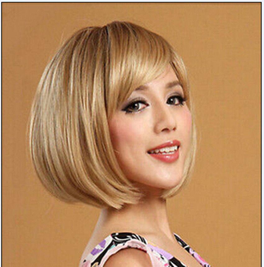 Сомони и &>> жаропрочный волокно девочка в короткая блонд бобо синтетический волос косплей парик