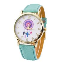 Novo 2016 da forma das senhoras relógios mulheres se vestem relógio quarzt dream catcher relógio horas Relogio relojes mujer de couro PU casuais