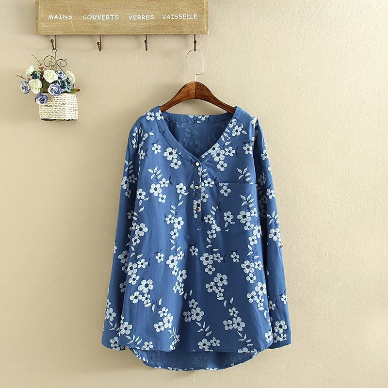 Foreign trade plus size cotton hemp fashion shirt