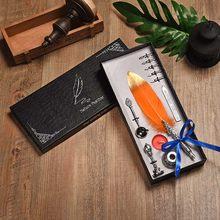 Винтажная авторучка, английская каллиграфия, перьевая ручка, пишущая свеча, лаковое перо, подарочный набор ручек, коробка для свадьбы, рожде...(Китай)