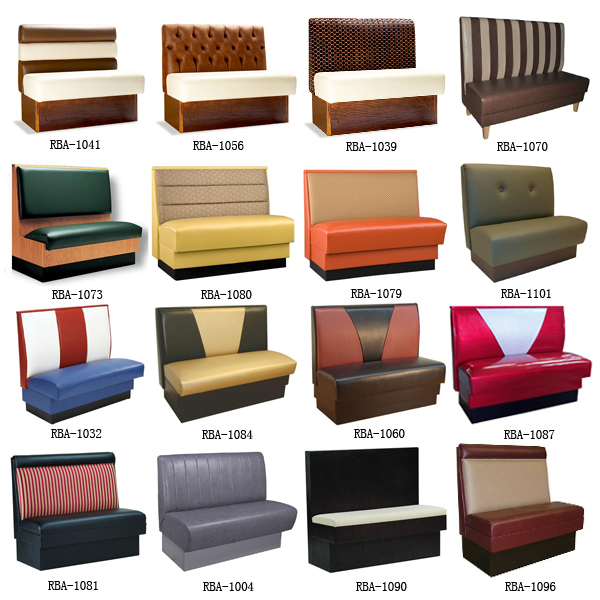 Restaurant dining booth sofa/ Red Color Double Booth In Vinyl Leather