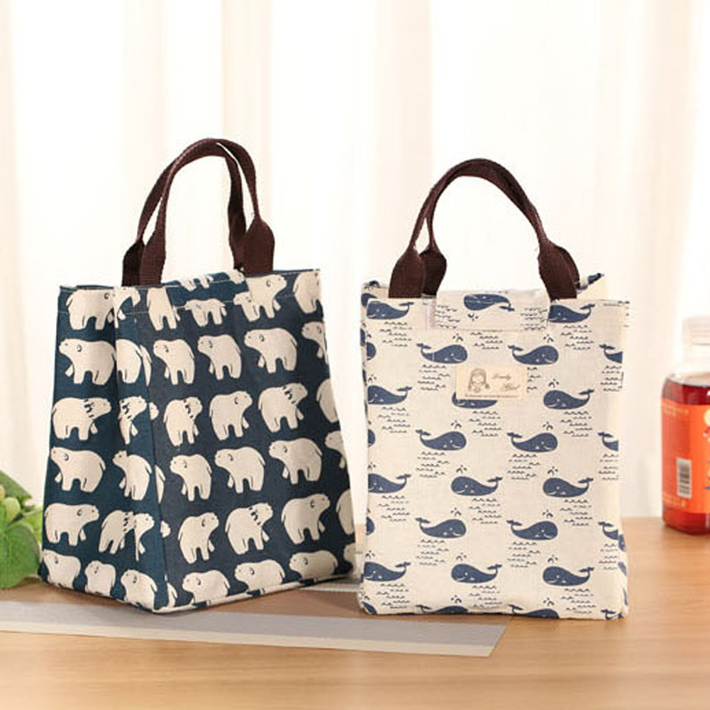 Insulated Canvas Tote Lunch Bag