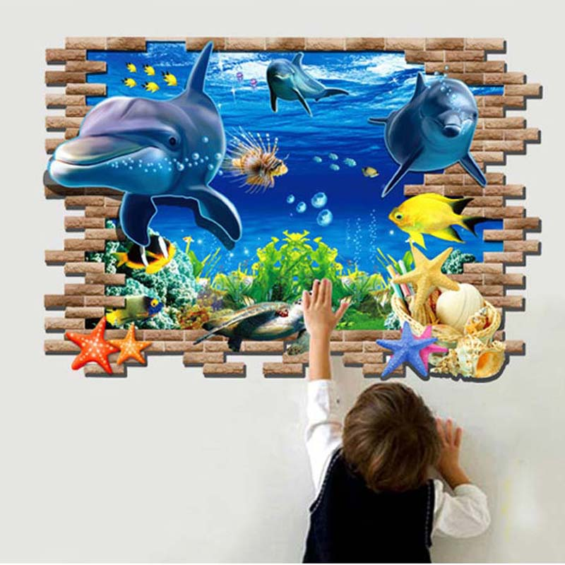 Wall Sticker 3D Finding Nemo Ocean Home Decor lifelike creative fashion Wall Decals for living room bedroom of children,LB1461