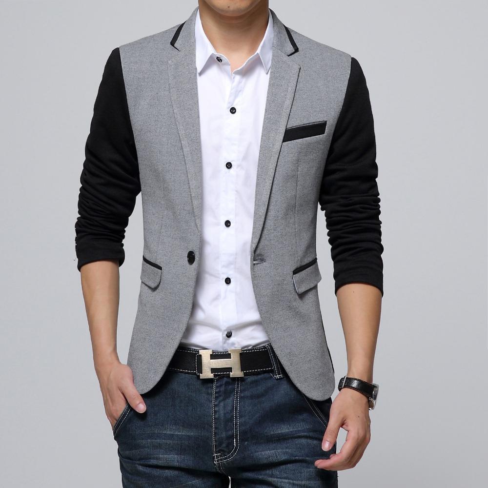 85571c62af3a New Slim Fit Casual jacket Cotton Men Blazer Jacket Single Button Gray Mens  Suit Jacket 2018 Autumn Patchwork Coat Male Suite