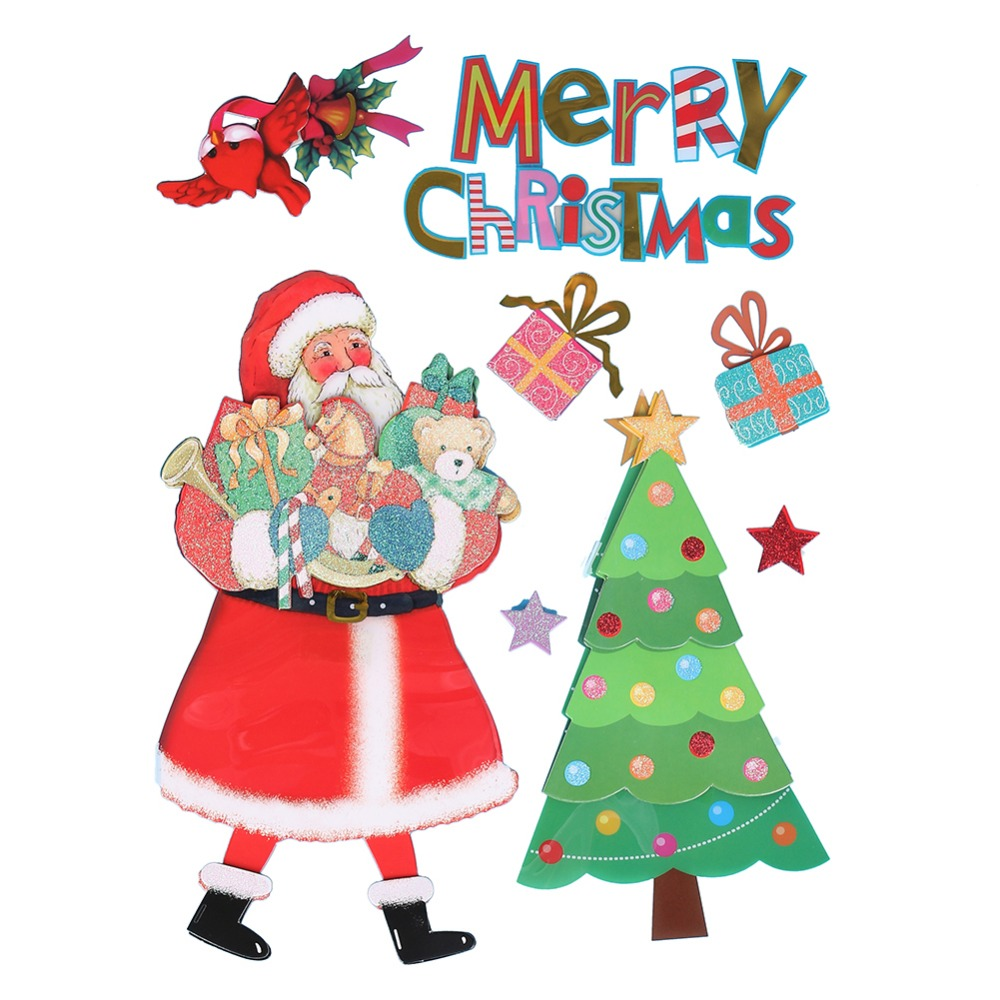 Merry Christmas Santa Claus Send Gift Happy New Year Decoration Home Decor Wall Sticker Decals