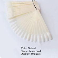 50 шт., овальная форма, половинные поддельные накладные ногти, УФ-гель для маникюра, набор для самостоятельной практики, полные кончики для но...(Китай)