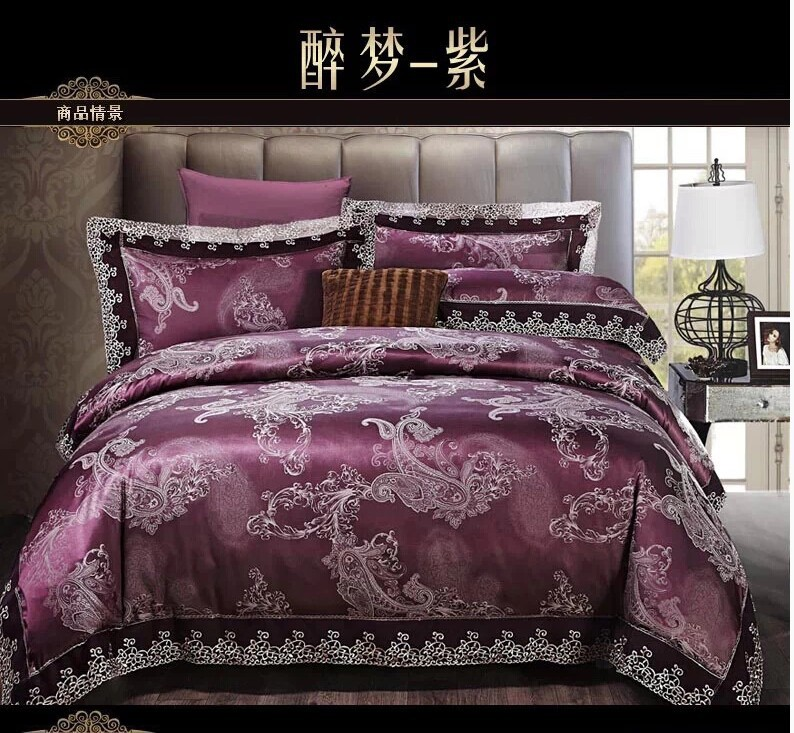 deep purple paisley bedding set king queen size comforter cotton bed sheets duvet cover. Black Bedroom Furniture Sets. Home Design Ideas