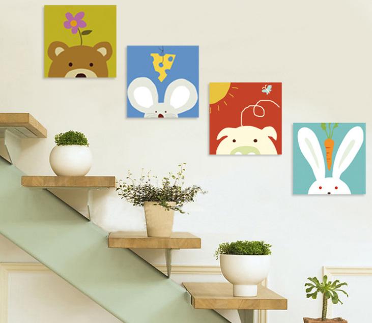 versandkostenfrei 2015 leinwand gem lde wand kunst dekorative 4 st ck cartoon tierbilder f r. Black Bedroom Furniture Sets. Home Design Ideas