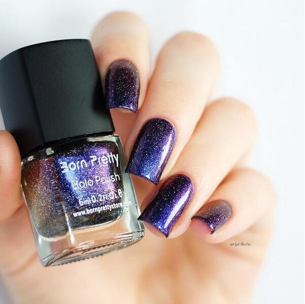 Popular 1 Bottle Born Pretty 6ml Charming Purple Chameleon Nail Art Polish Varnish 31 Black Base