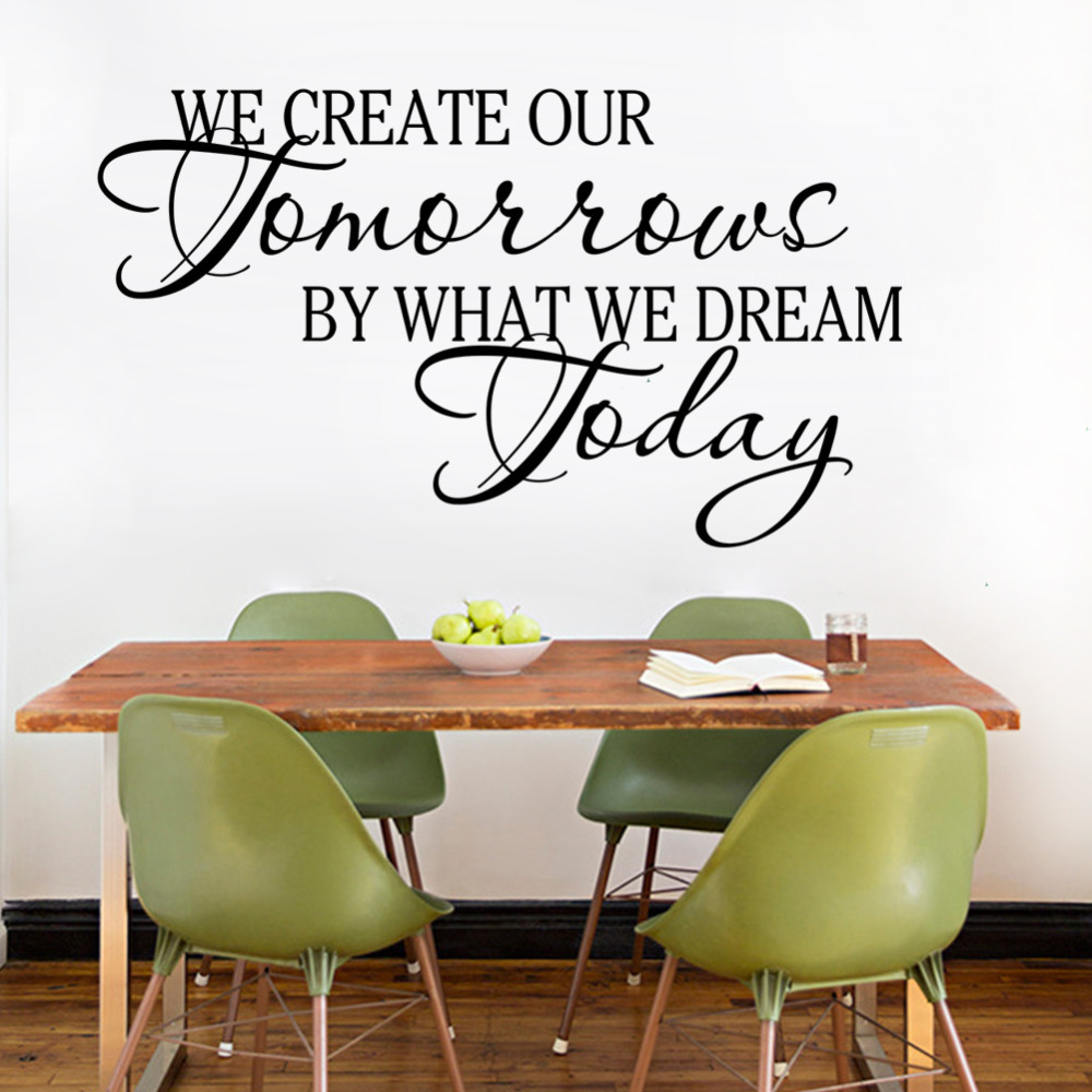 We Creative Tomorrow by Dreams today Wall Art Decal Home Decor Famous Inspirational Quotes Living Room Bedroom Wall Stickers