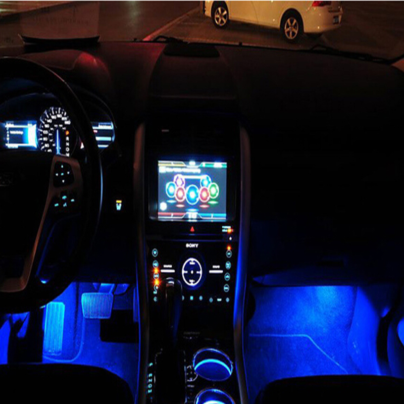 blue led car charge glow interior decorative lamp neon atmosphere. Black Bedroom Furniture Sets. Home Design Ideas