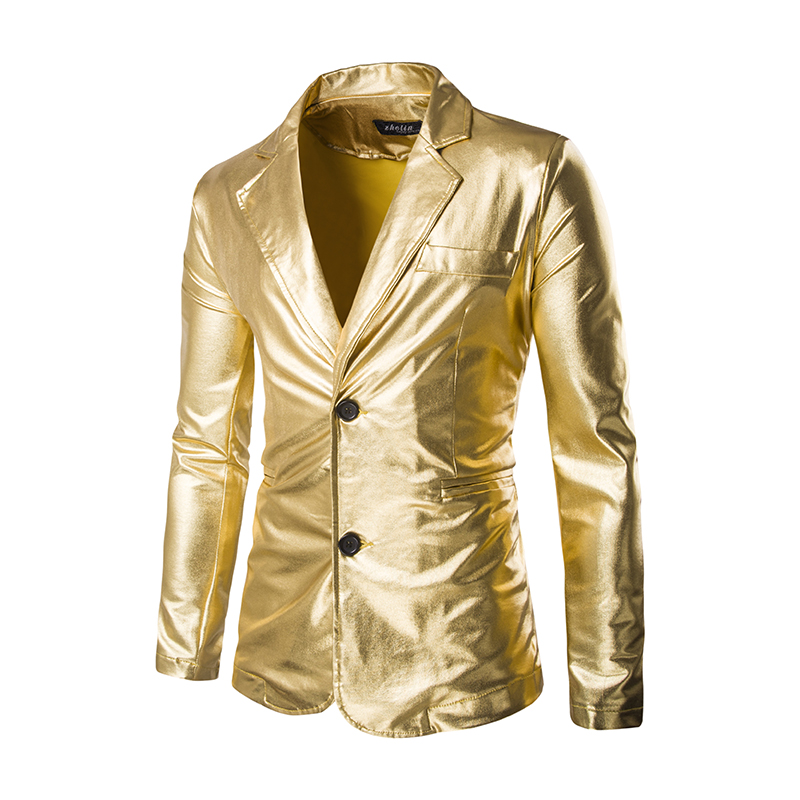 55123ab06bb07 Wholesale- Gold Shiny Blazer Men Coated Metallic Night Club Mens Suit  Jacket Blazer Casual Slim Fit Hip Hop Costumes Singer Dancer Blazers