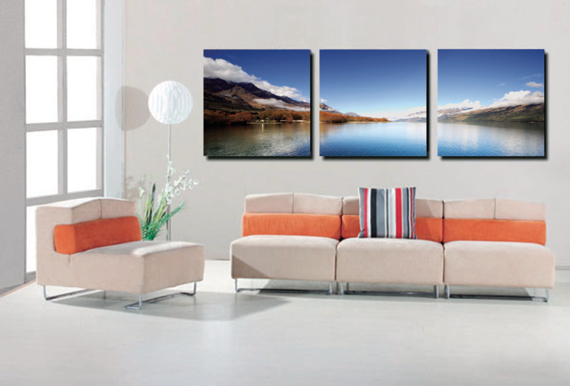 3 Piece clear Lake landscape Modern Home decoration Wall Decor oil painting Canvas Art Print Painting No frame SZ-O-168