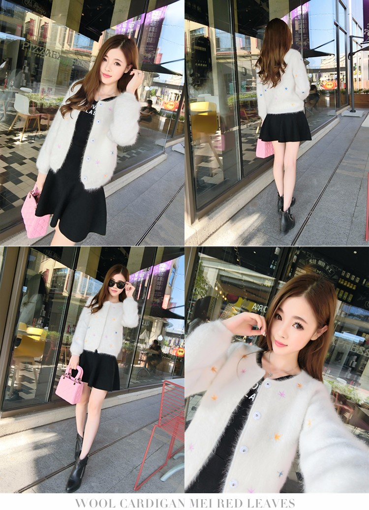 2016New autumn and winter long-haired Mink Cashmere round neck Slim female  Fashion warm thickening Bubble sleeve Mink Cardigan - us294 b0ccda201c81