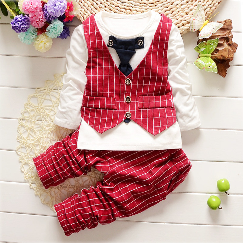 6d3e423372f 2017 Baby Boys Clothes Sets Gentleman With Tie Long Sleeved T-shirts Tops +  Plaid Pants Outfits Kids Bebes Jogging Suits Vestido