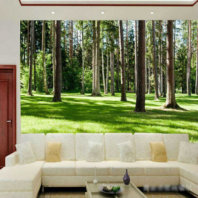 Nature Wall Decor: Forest Landscape Wallpaper Wood Trees Photo Wallpaper