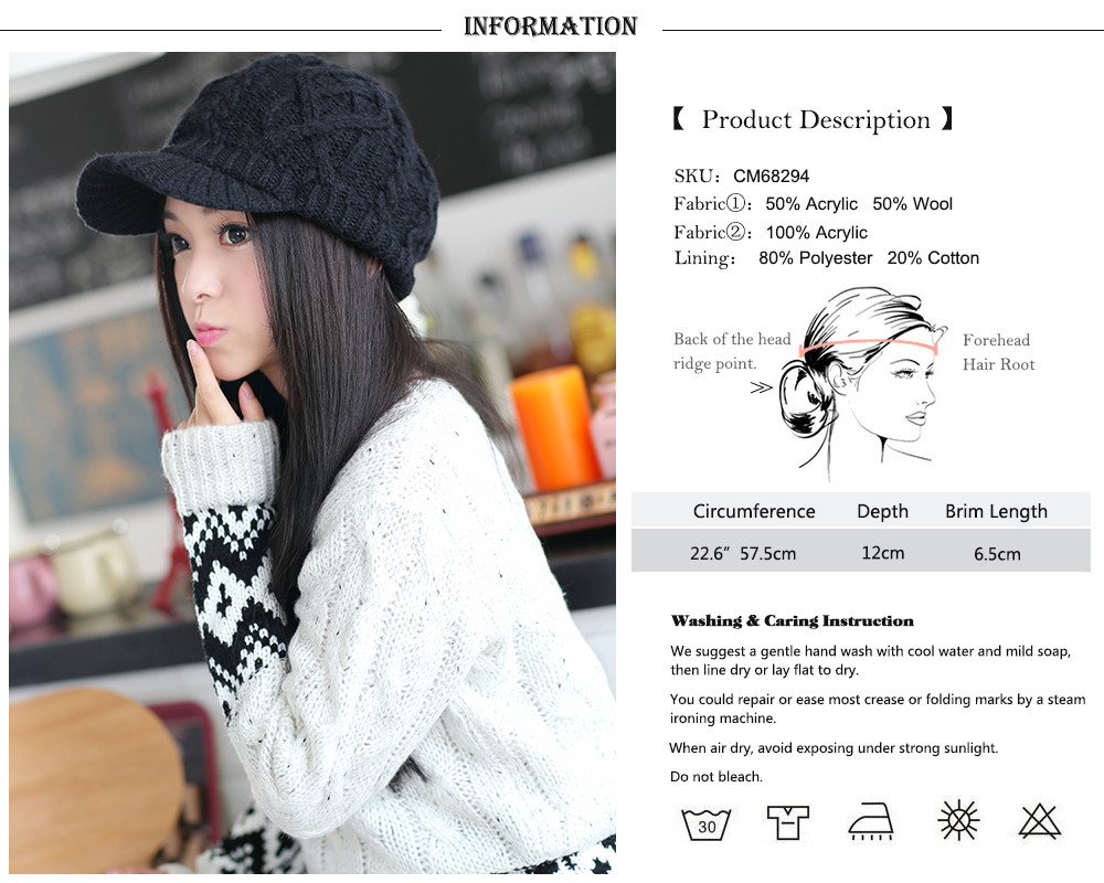 af7a29c5b80 Product Display. 1) Color  Black. 2) Style  Knitted Newsboy Hat Cap for  Women
