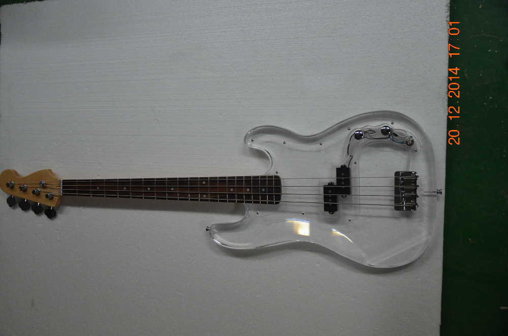 4 string bass guitar acrylic clear material body in guitar from sports entertainment on. Black Bedroom Furniture Sets. Home Design Ideas