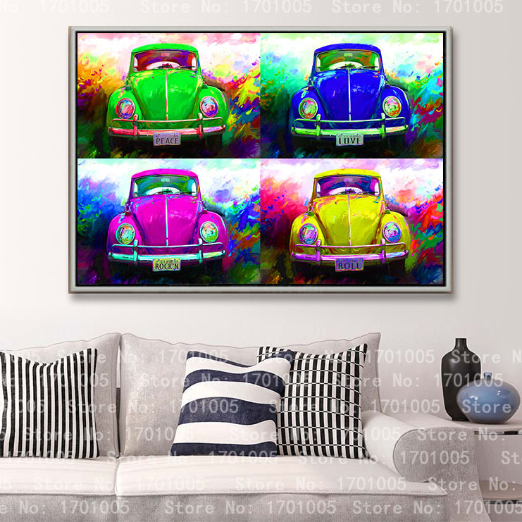 Free shipping modern oil painting home deco wall hanging art colorful car picture living room Decorative on canvas prints C001