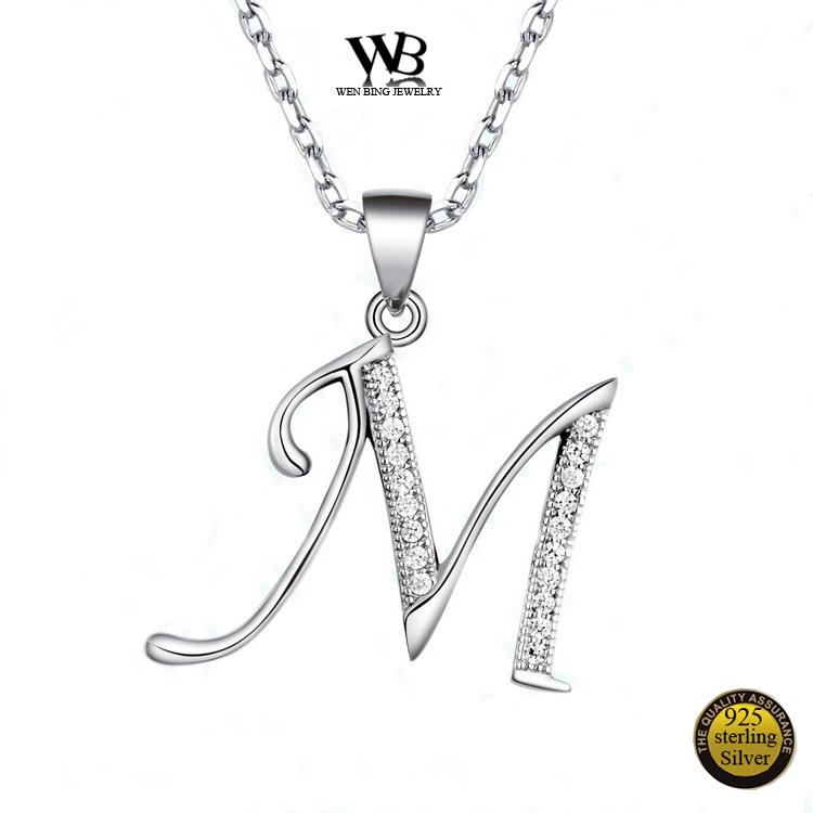 925 Sterling Silver Letter Pendants for Necklace 26 Capital Letter Crystal  Pendant Necklace Alphabet A B C D E F G H I J K L M N