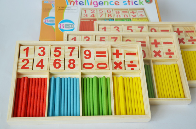 1pc kid s wooden Fashion Mathematics Numbers colorful stick Toy Puzzle Game for Children Math Education